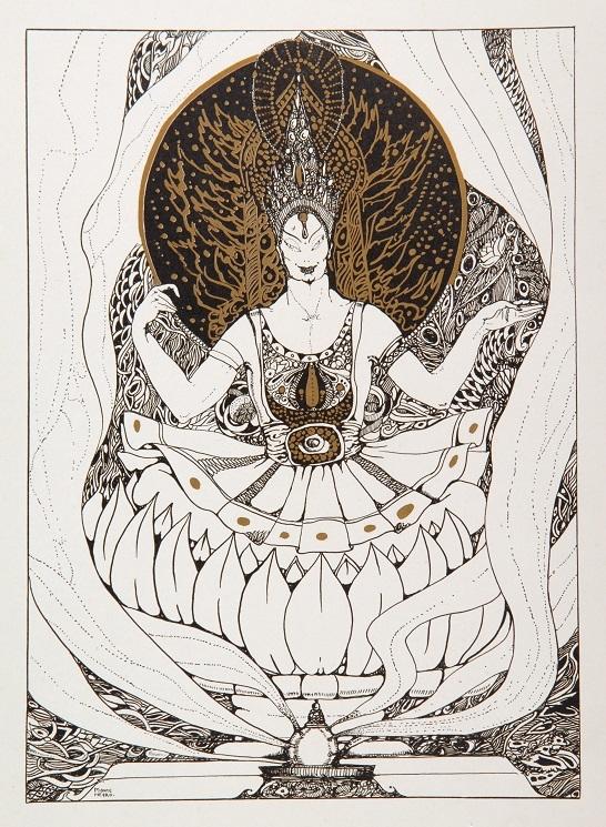 ロベルト・モンテネグロ『青神』/限定書籍『ワツラフ・ニジンスキー:黒・白・金で彩られた作品の芸術的解釈』イギリス1913年