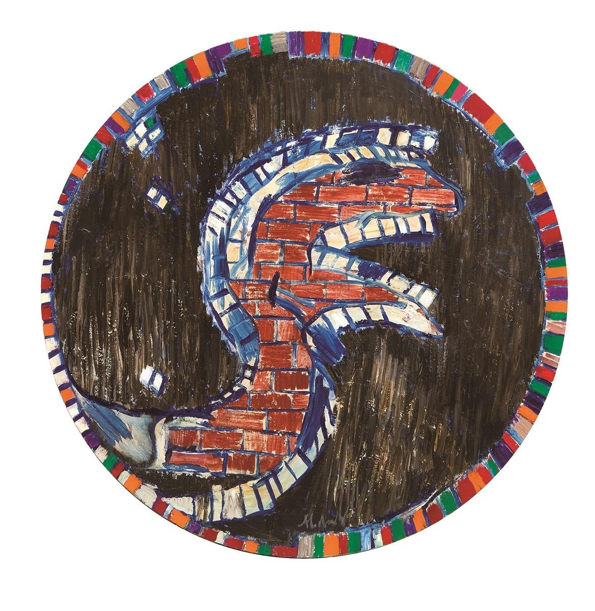 《鉱物の横顔》 2015年 アクリル絵具、キャンバスで裏打ちした紙 作家蔵 (C)Pierre Alechinsky, 2016