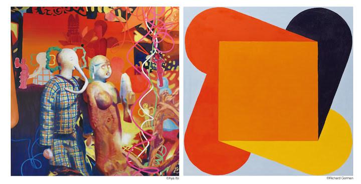 左) Elephant man with fisher angel2019oil on linen100 x 100 cm (C)Aya Ito 右) Squeeze Orange2018oil on linen100 x  100 cm (C)Richard Gorman, Image courtesy of the Kerlin Gallery, Dublin