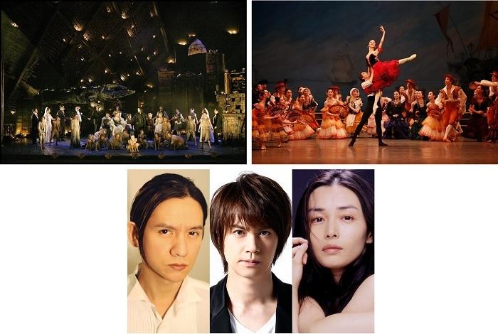 (上段左から)オペラ『夏の夜の夢』(マクヴィカー演出「夏の夜の夢」モネ劇場公演より )、バレエ『ドン・キホーテ』、(下段) 演劇『リチャード二世』出演者