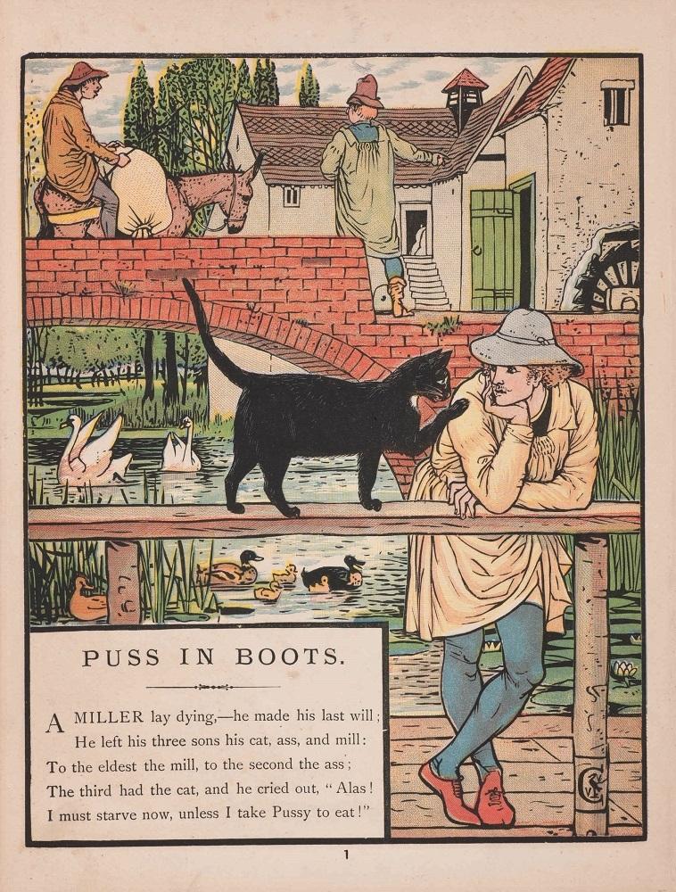 ウォルター・クレイン『長靴をはいた猫』1874年 個人蔵