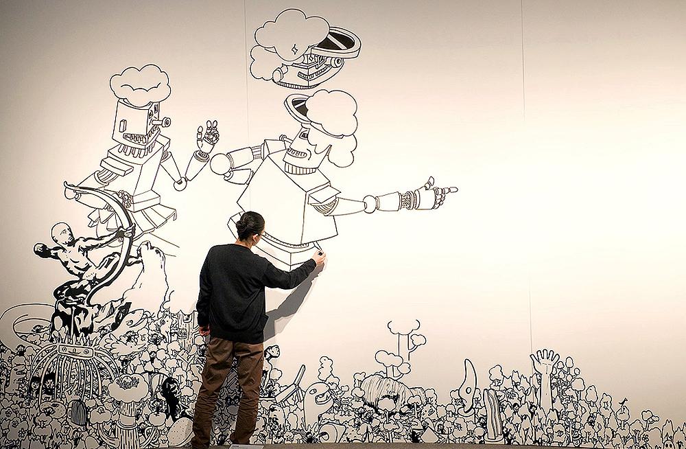 "高橋信雄 彫刻の森美術館40周年記念壁画 JAPANESE GRAFFITI series ""HAKONE OPEN-AIR GRAFFITI""   2009 彫刻の森美術館 PHOTO/笠谷美佳"