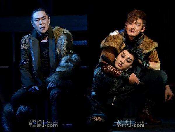 キム・ボムレがソロナンバー「私の任務、私の忠誠」を哀感たっぷりに披露する(左)/イ・テソン演じるジンには激しいアクションシーンも(右)