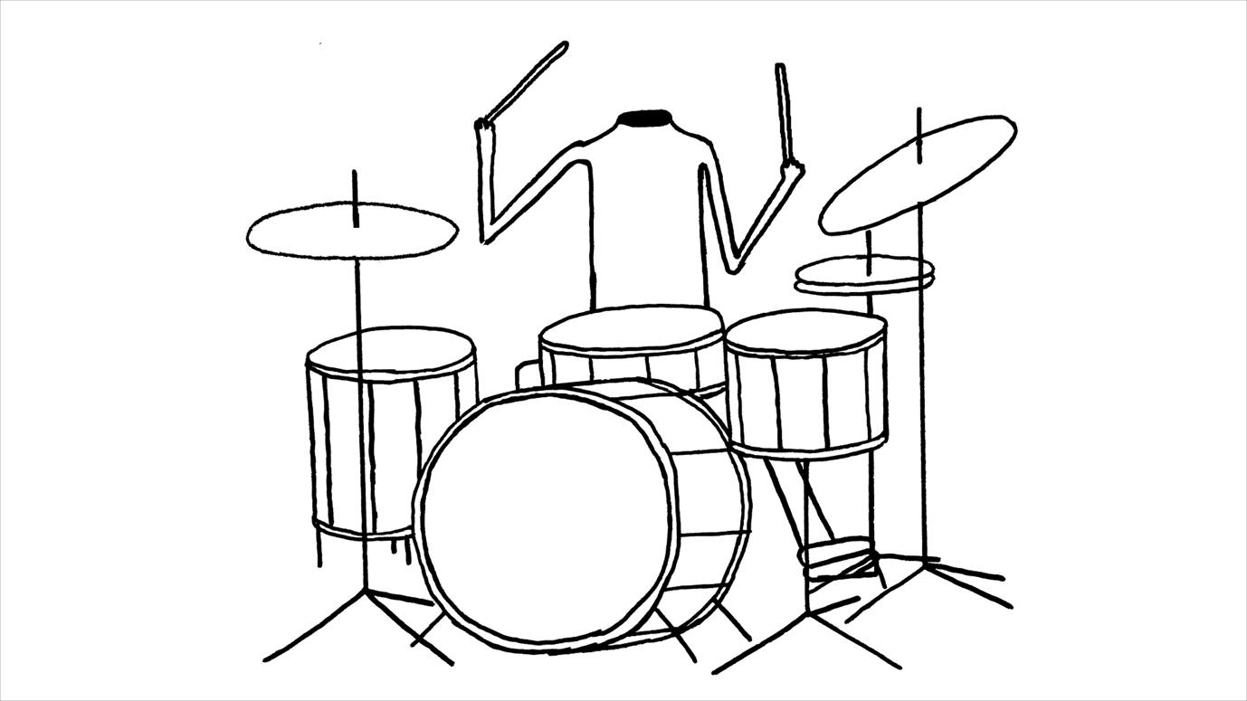 デイヴィッド・シュリグリー「頭のないドラム奏者」2012(アニメーションからの静止画)  Courtesy: Artist and Stephen Friedman Gallery, London
