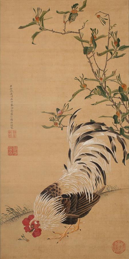 初公開作品の伊藤若冲《梔子雄鶏図(くちなしゆうけいず)》18世紀 個人蔵