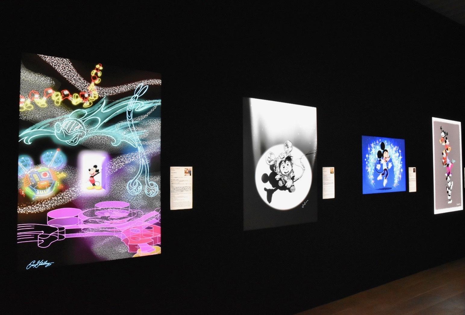 左から:Eric Goldberg《Future Mickey》、Jin Kim《Ray of Tomorrow》、 Griselda Sastrawinata-Lemay《Dancing Into the Future》、Bill Schwab《Standing on the Shoulders of Giants》(C)Disney