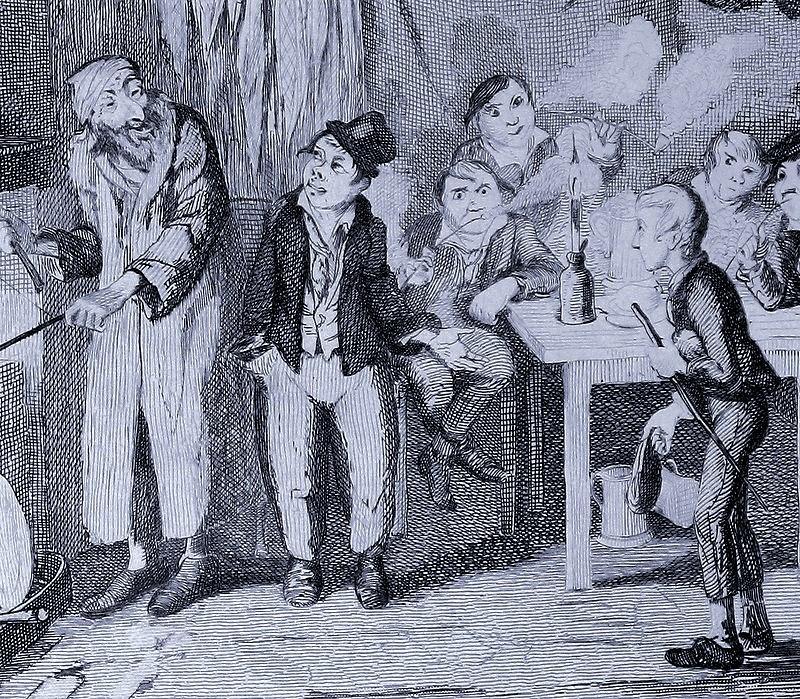 風刺画家ジョージ・クルックシャンクによる、「オリバー・ツイスト」初版本(1838年)の挿絵。右端がオリバー。中央がアートフル・ドジャーで、その左がフェイギン。