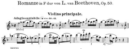 ベートーヴェン:ヴァイオリンと管弦楽のためのロマンス 第2番 ヘ長調 Op.50 冒頭部分