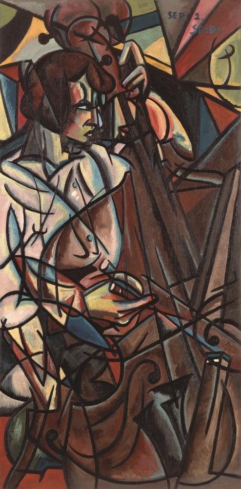 《コントラバスを弾く》、1915年、油彩・キャンヴァス、153.0×75.4cm、東郷青児記念 損保ジャパン日本興亜美術館