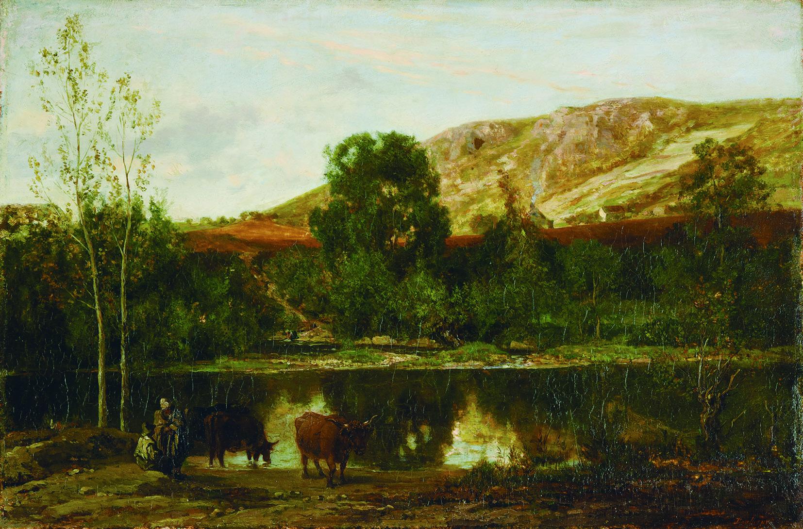 シャルル=フランソワ・ドービニー 《池の風景》 1847年頃 油彩/板 29.7×44.8㎝ ランス美術館 (C)Christian Devleeschauwer