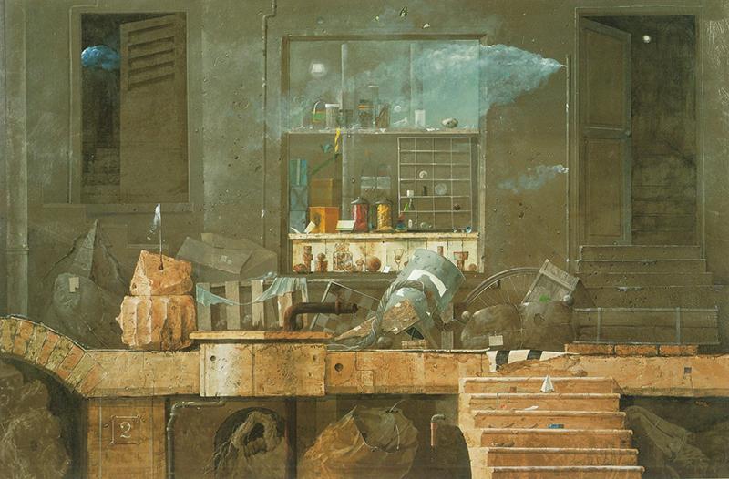 麻田浩《原都市》1983年 油彩・キャンバス 公益財団法人中信美術奨励基金蔵