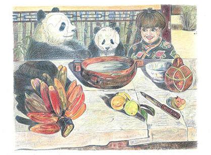 ゴーギャン「食事」を、 話題のパンダの誕生日パーティーの風景にアレンジ。 パンダといえば、 のあの人も出席で笑みを誘う。