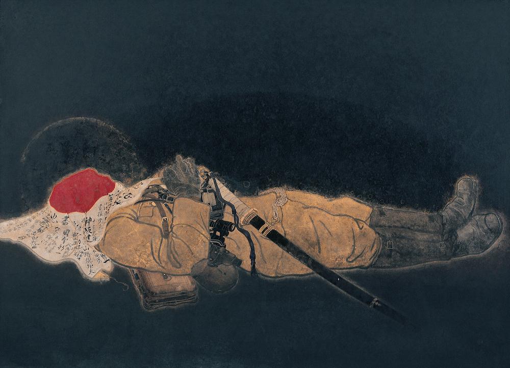 《國之楯》1944年 京都霊山護国神社(日南町美術館寄託)  天覧に供するために陸軍省の依頼で描かれたと伝わるが、完成作は同省に受け取りを拒まれた。絵の裏にはチョークで「返却」と記されている。