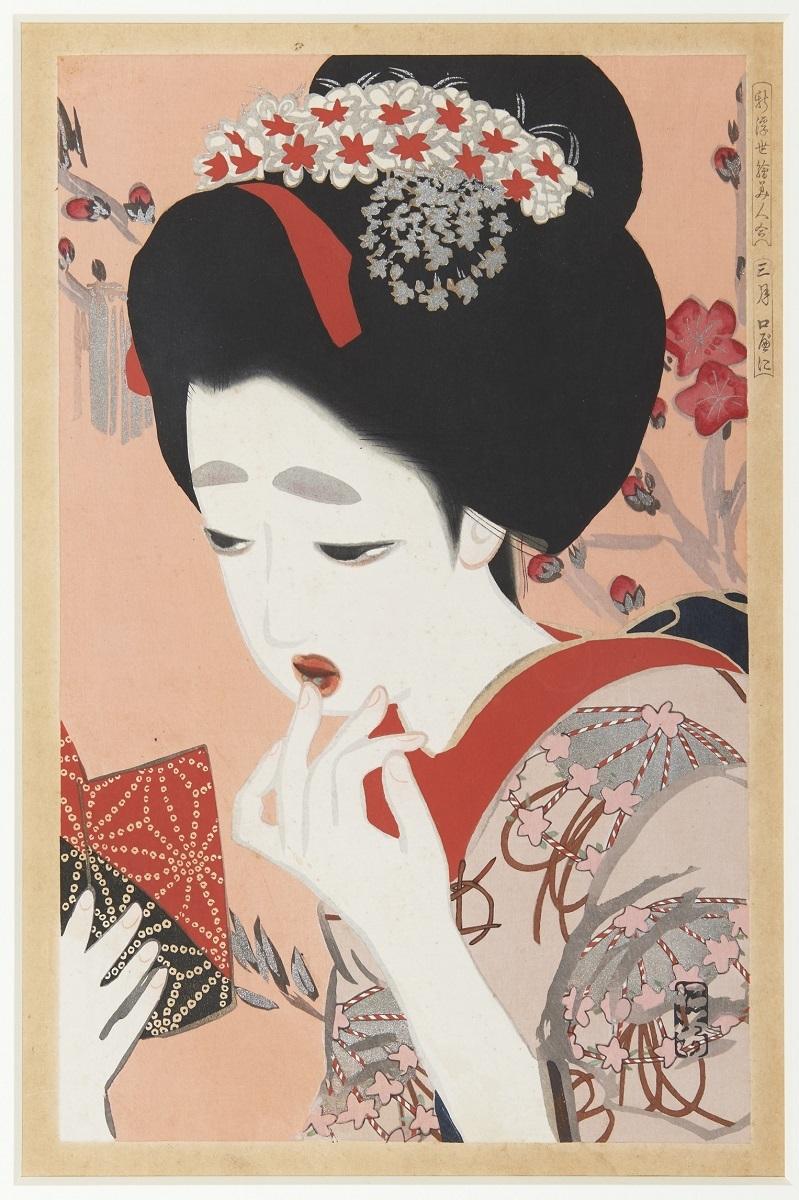 北野恒富《新浮世絵美人合 三月 口紅》大正6~7年(1917~18)頃 個人蔵