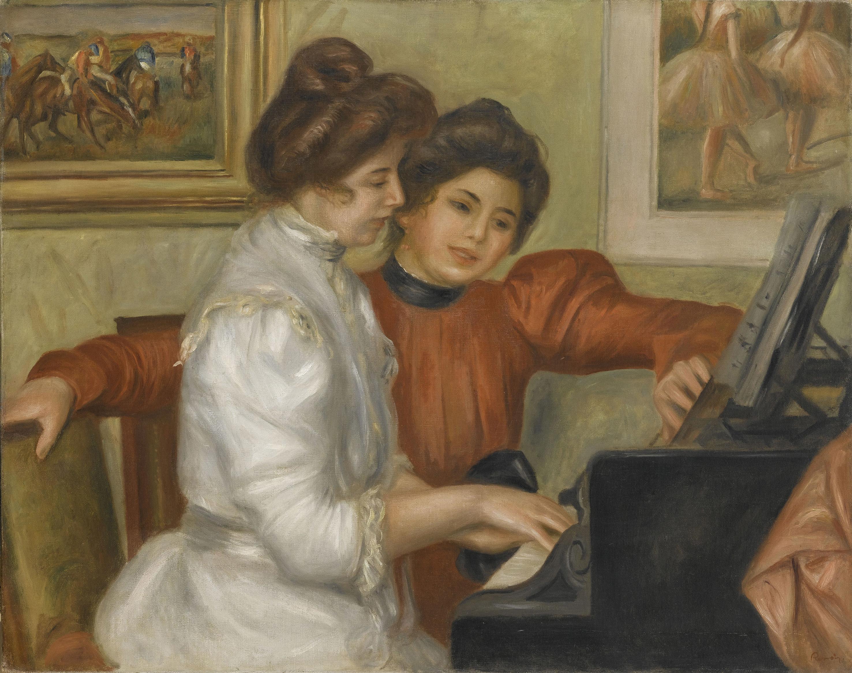 オーギュスト・ルノワール《ピアノを弾くイヴォンヌとクリスティーヌ・ルロル》1897年、油彩・カンヴァス、73×92cm、オランジュリー美術館 (C) RMN-Grand Palais (musée de l'Orangerie) / Franck Raux