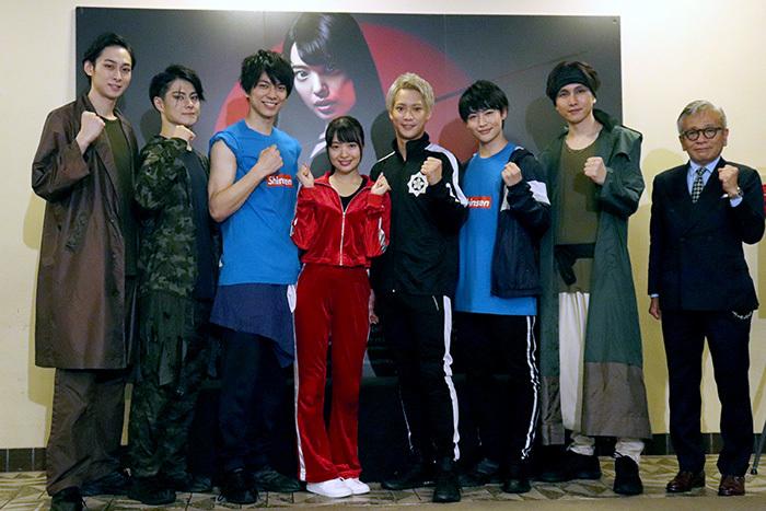 (左から)田中涼星、松村龍之介、小松準弥、北原里英、味方良介、増子敦貴、細貝圭、河毛俊作