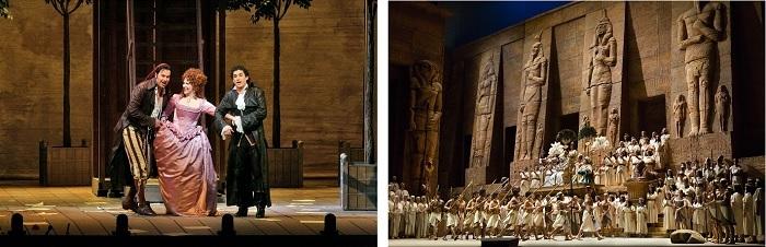 (左から)《セヴィリャの理髪師》(c)Ken Howard/Metropolitan Opera 、《アイーダ》(c)Marty Sohl/Metropolitan Opera