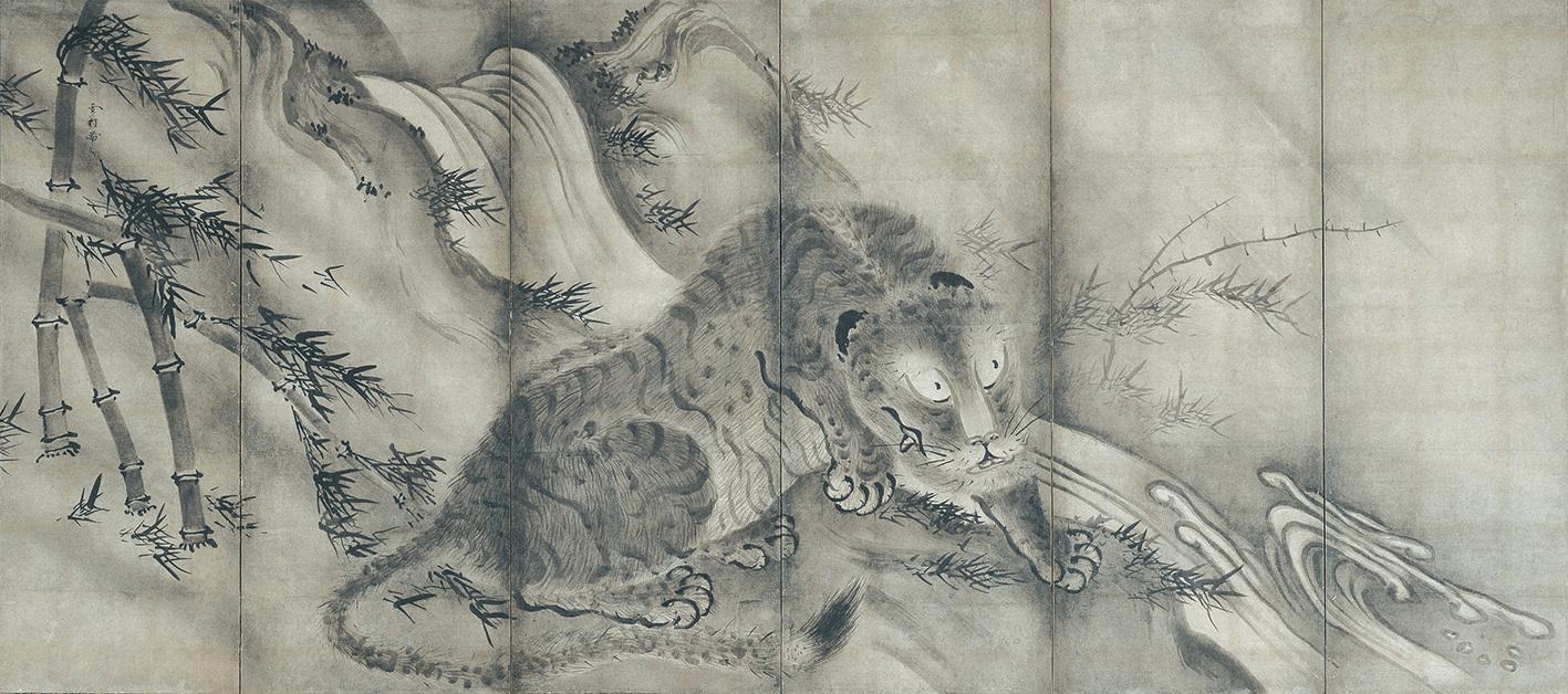 雪村筆 《龍虎図屏風》(左) 6曲1双 各155.6×350.4cm 東京・根津美術館蔵 【展示期間:4月25日~5月21日】