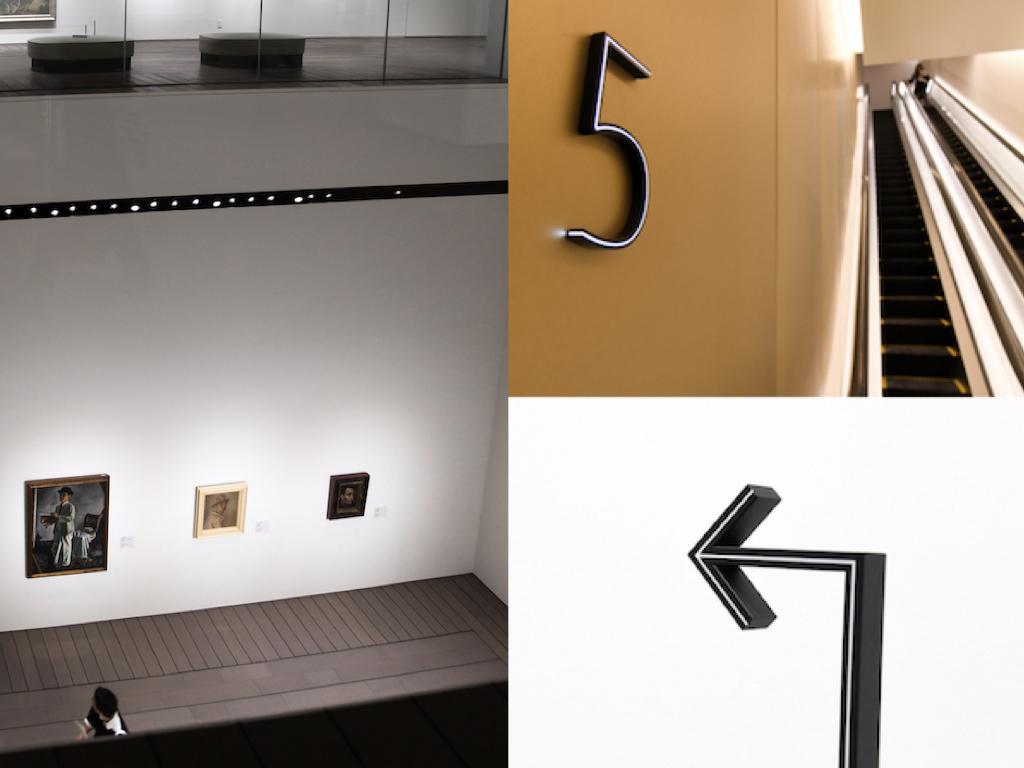 左/4階展示室と5階展示室の吹き抜け空間。右上・右下/各種サインデザインも見やすく個性的