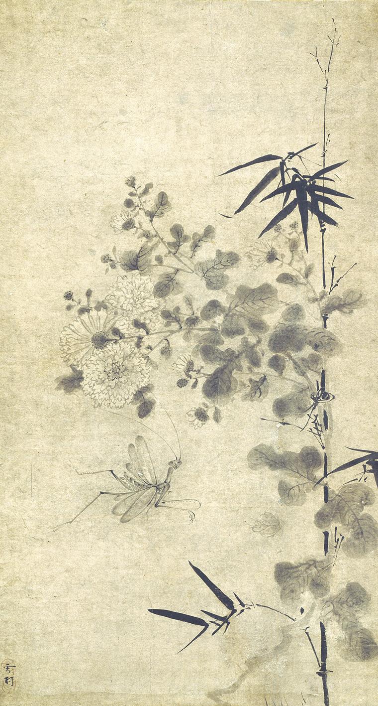 雪村筆 《菊竹蟷螂図》 1幅 74.0×39.5cm 個人蔵 【展示期間:4月25日~5月21日】