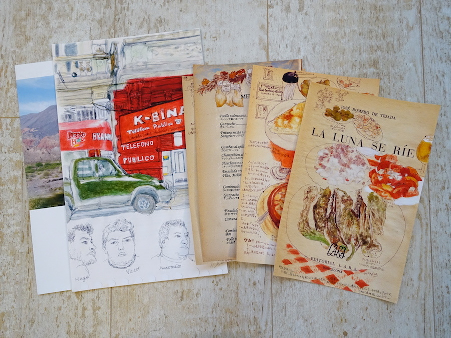 Nagisa Nakauchi『スケッチ旅便』左は冊子、右は紙の束形式のもの