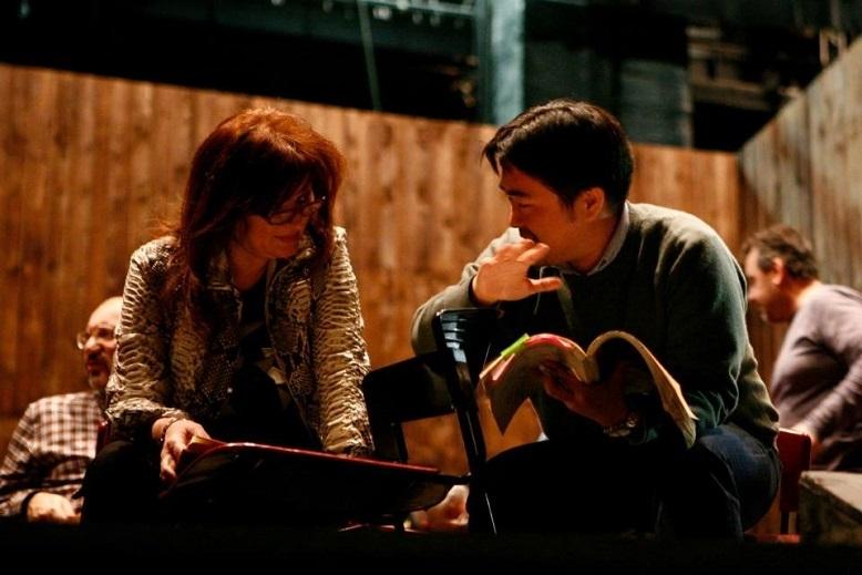 ローマ歌劇場でジェルメッティのアシスタント時代。プッチーニ『西部の娘』ソプラノ ダニエラ・デッシと。