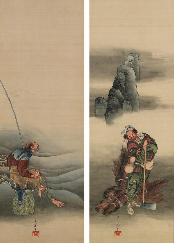 葛飾北斎 「漁樵問答図」 (後期) フリーア美術館蔵 Original: Freer Gallery of Art, Smithsonian  Institution, Washington, D.C.: Gift of Charles Lang Freer, F1904.181-182 ※展示は高精細複製画となります。