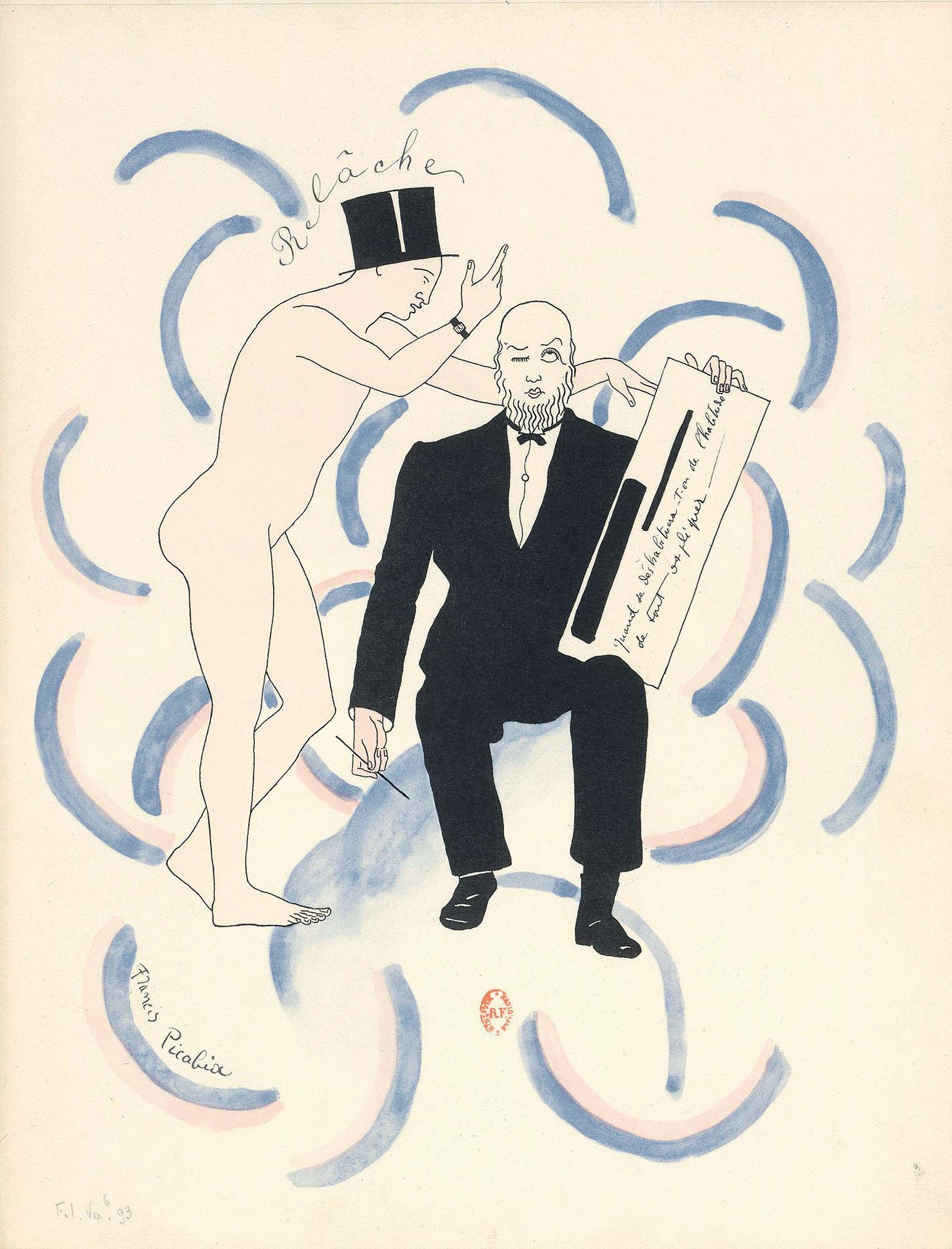 フランシス・ピカビア《「本日休演」の楽譜の口絵》 1926年 紙、リトグラフ フランス国立図書館 Bibliothèque nationale de France, Paris