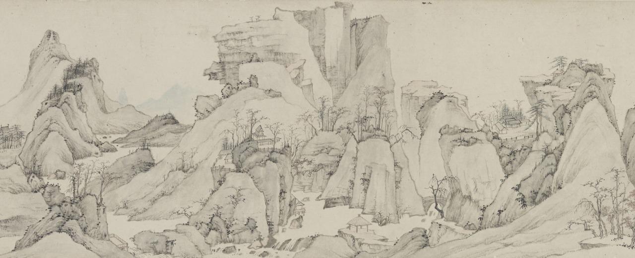 漸江「江山無尽図巻」(部分)清・順治18年(1661)(泉屋博古館)
