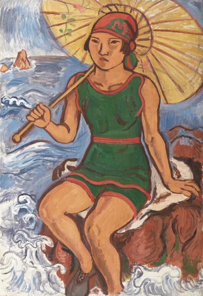 《水着姿》1926年 油彩、画布 岩手県立美術館 蔵