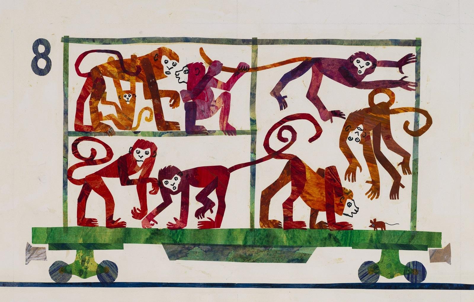 『1.2.3どうぶつえんへ』最終原画、 1986年、 エリック・カール絵本美術館 (C)1968 and 1987 Eric Carle