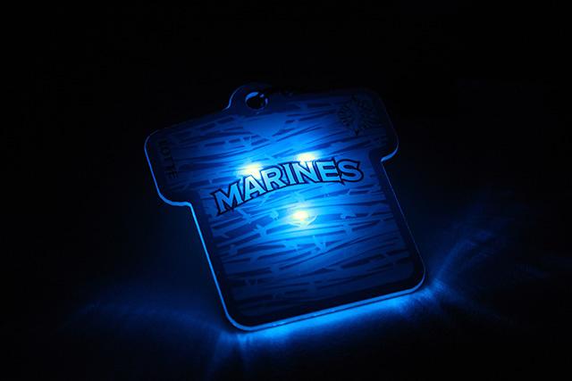 バッジは内臓のLEDライトが青く光る