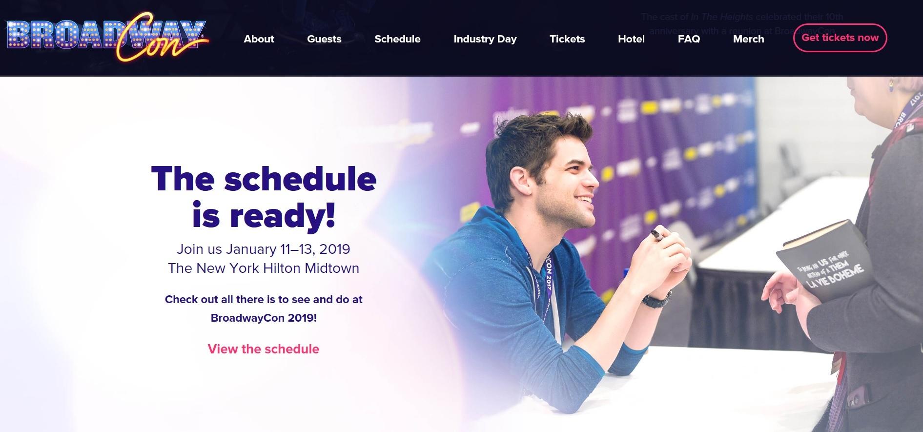「broadwaycon.com」トップページのスクリーンショット