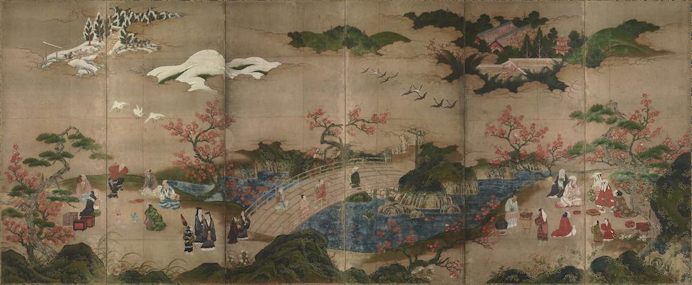 狩野秀頼筆 国宝《観楓図屏風》室町~安土桃山時代・16世紀 東京国立博物館蔵