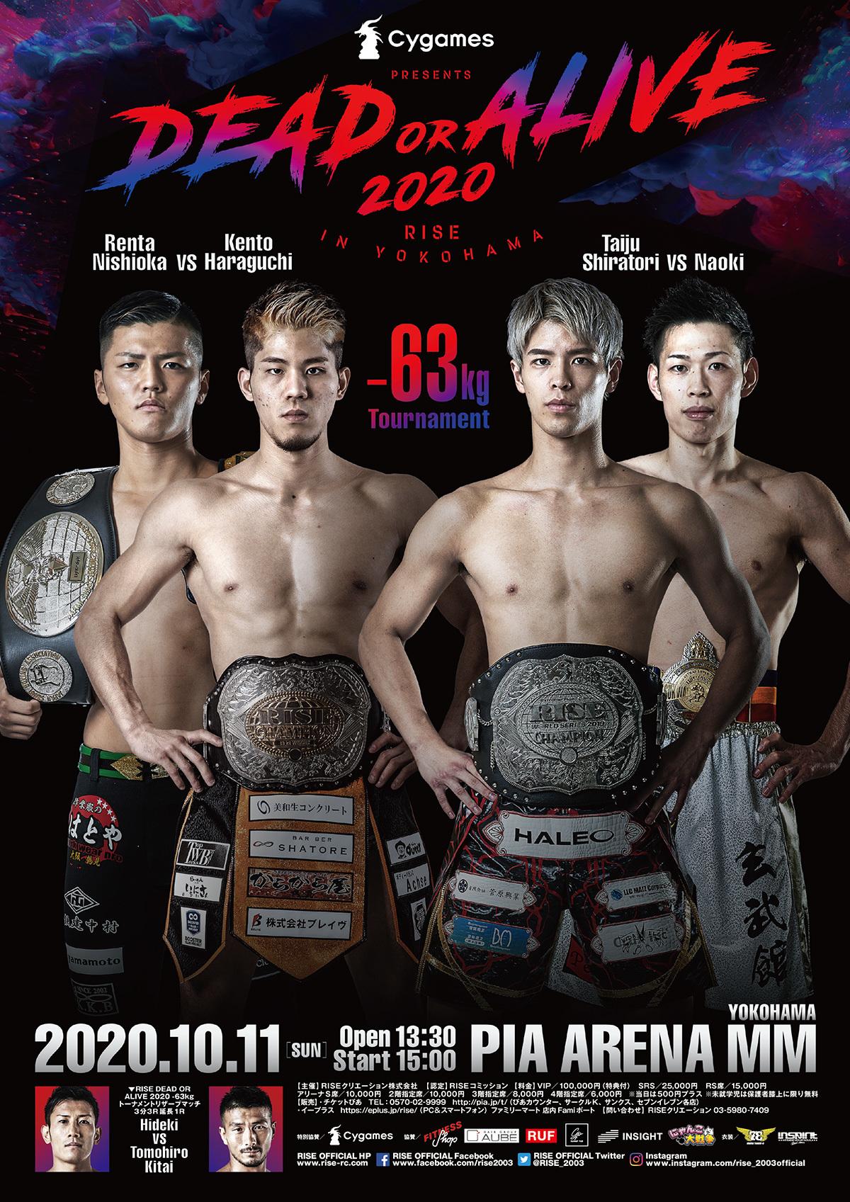 『Cygames presents RISE DEAD OR ALIVE 2020 YOKOHAMA』で-63kg級1DAYトーナメントが実施される