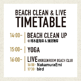 『GREENROOM FESTIVAL BEACH CLEAN & LIVE』、タイムテーブルを公開