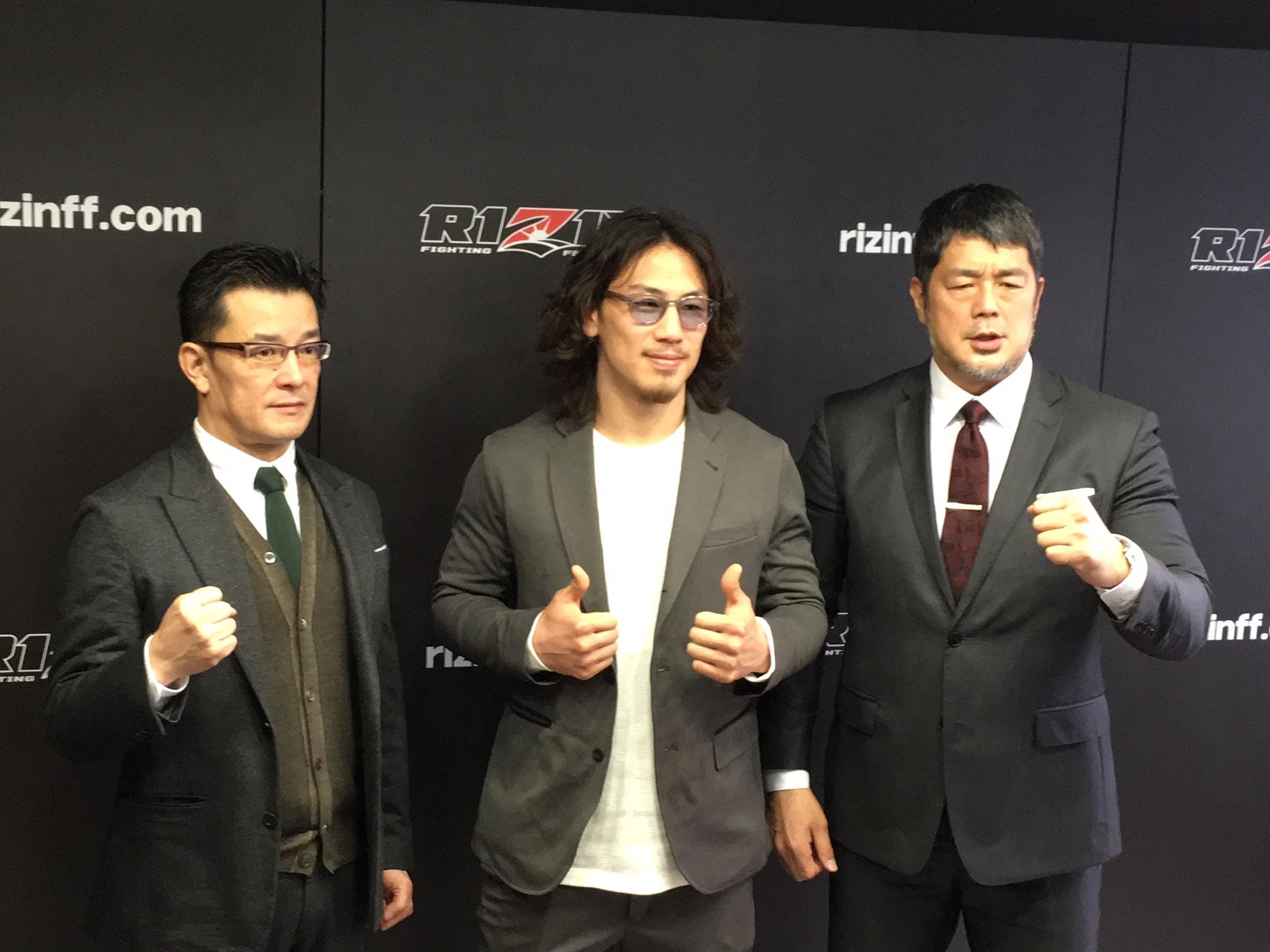 今年も格闘技界を賑わすRIZIN(左から榊原信行プロデューサー、『RIZIN.10』に出場する矢地祐介、高田延彦氏)