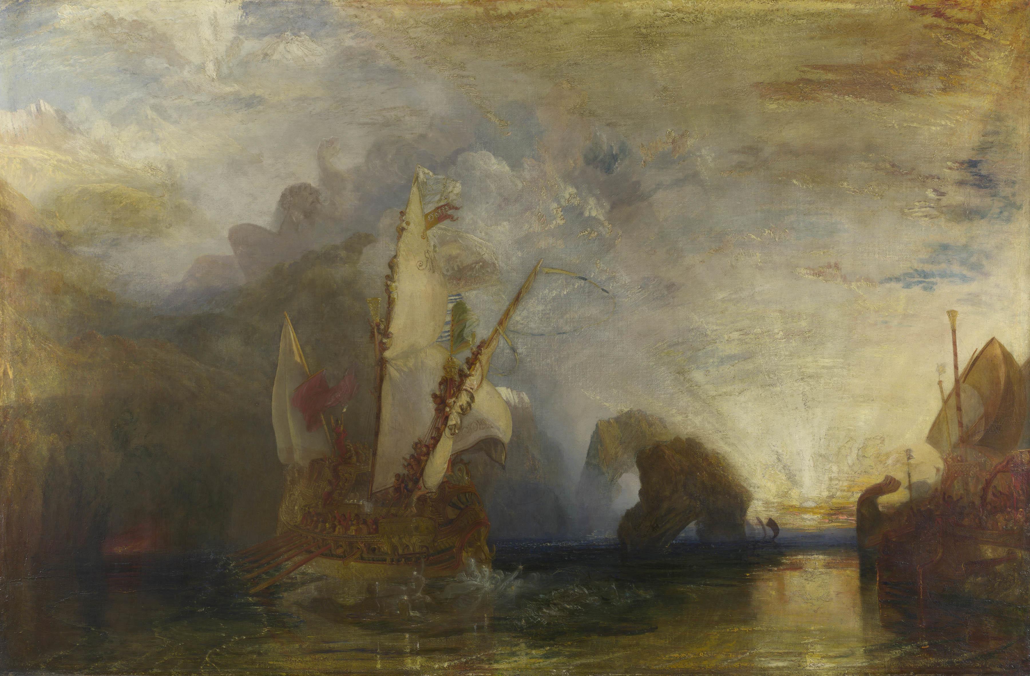 ジョゼフ・マロード・ウィリアム・ターナー 《ポリュフェモスを嘲るオデュッセウス》 1829年 油彩・カンヴァス 132.5×203cm  (C)The National Gallery, London. Turner Bequest, 1856