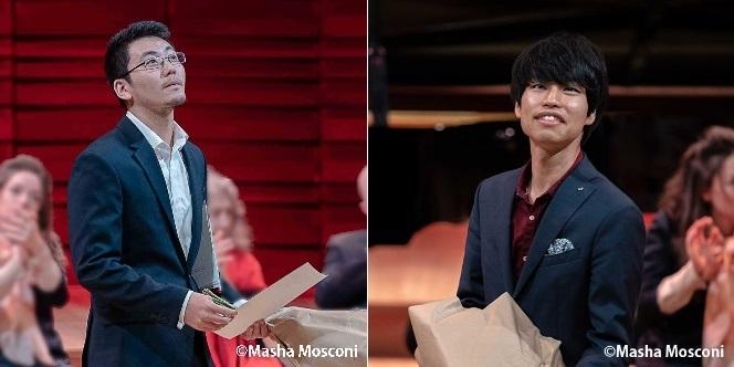 1位入賞の三浦謙司(左)と 2位入賞の務川慧悟(右) コンクール表彰式の様子