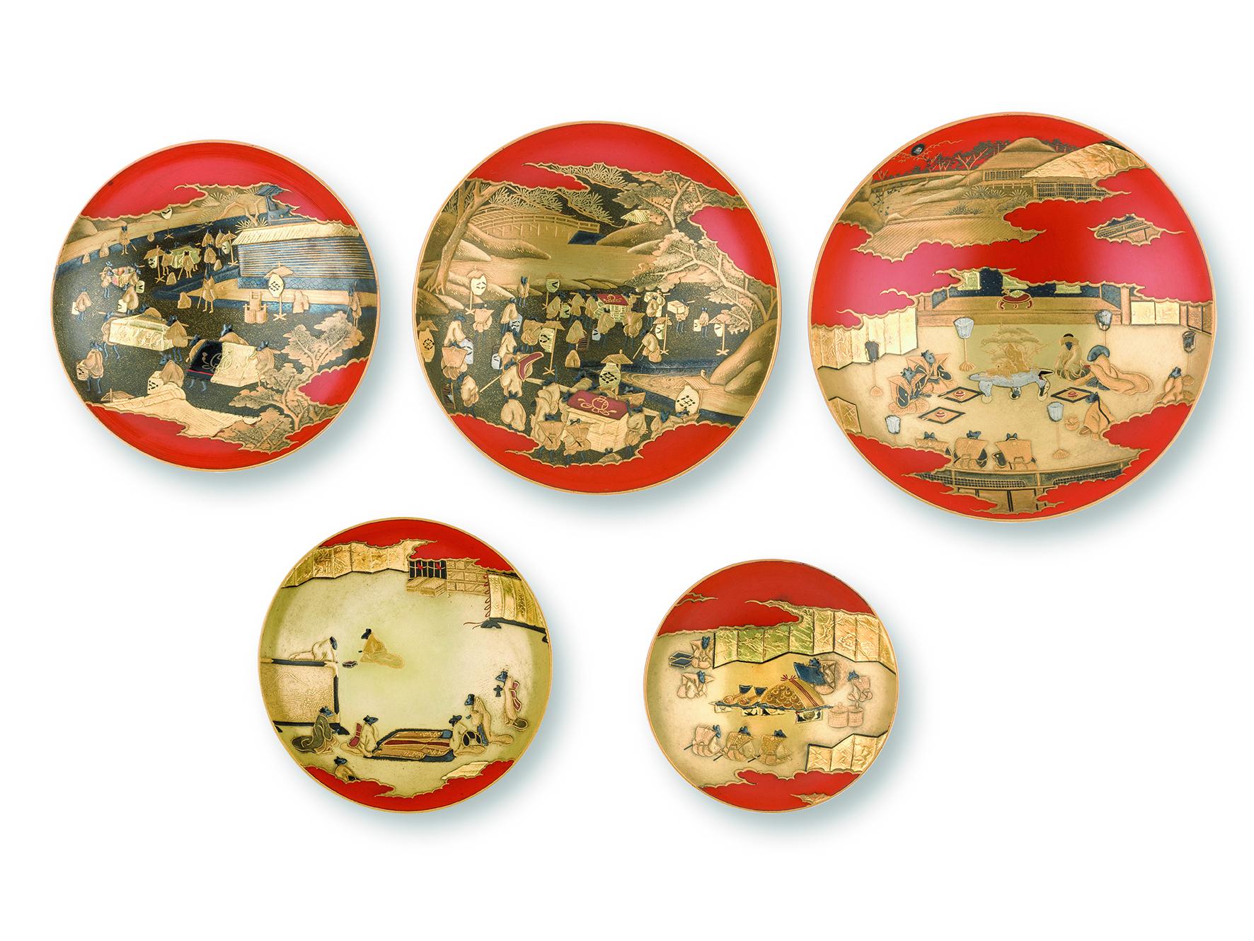 朱漆塗鼠嫁入蒔絵組盃(浮船/作) 江戸時代 19世紀 ベニス東洋美術館蔵