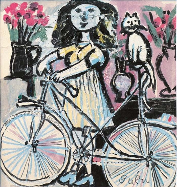 猪熊弦一郎 《自転車と娘》 1954年 水彩、クレパス・紙 丸亀市猪熊弦一郎現代美術館蔵 ©The MIMOCA Foundation ※無断転載禁止