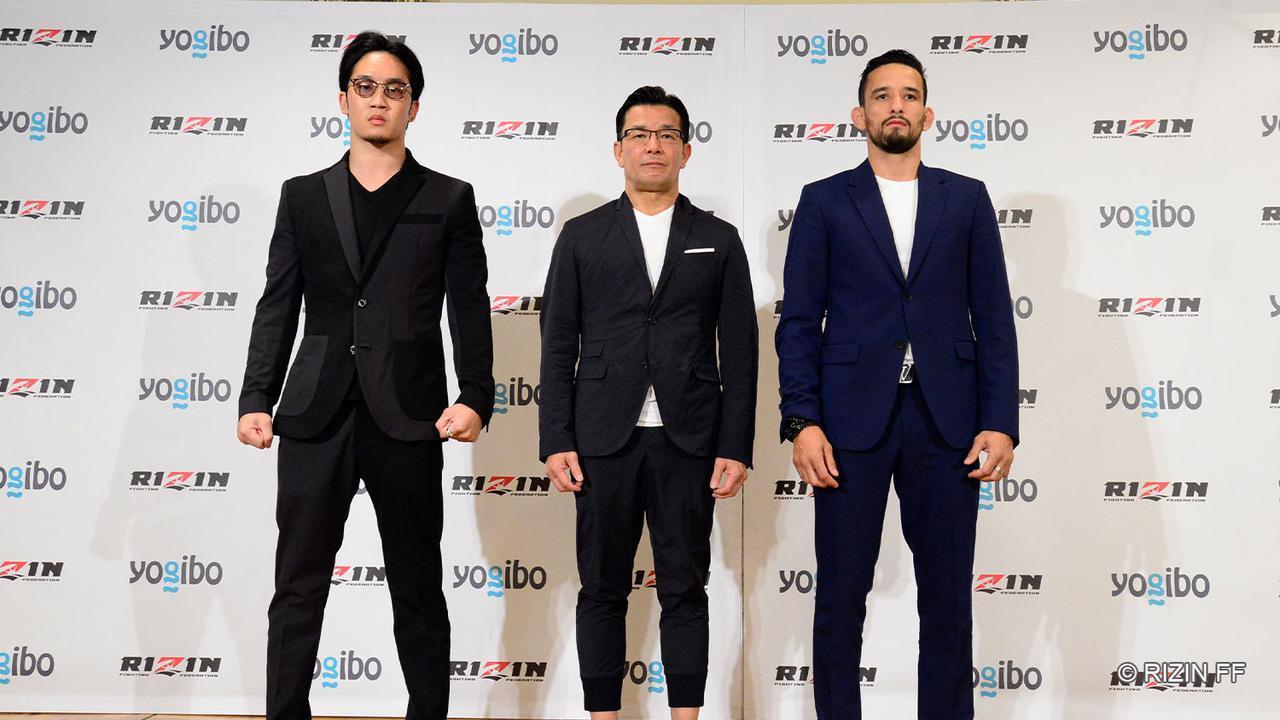 左から朝倉未来、榊原信行CEO、クレベル・コイケ