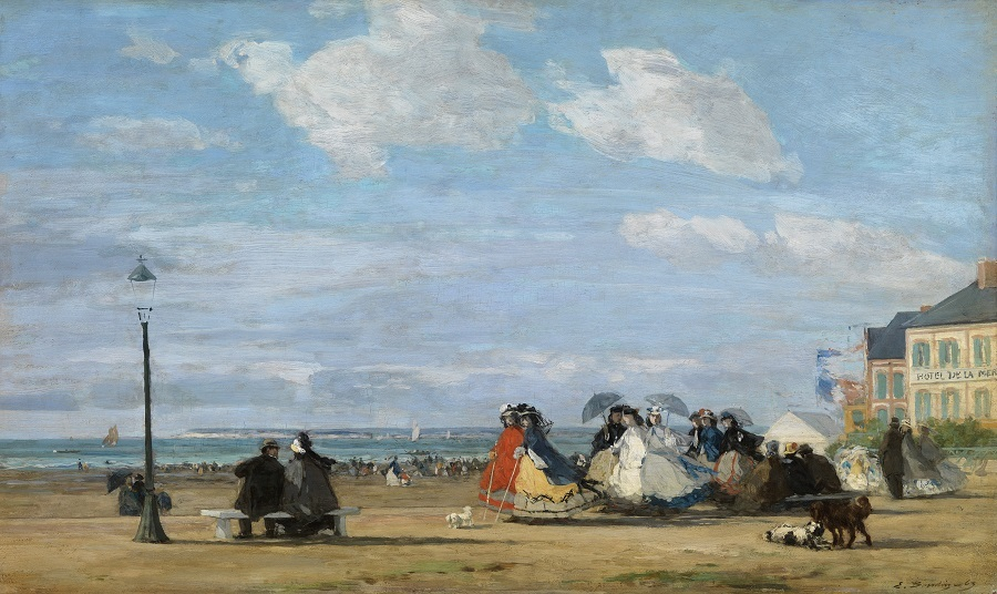 ウジェーヌ・ブーダン 《トゥルーヴィルの海岸の皇后ウジェニー》 1863年、油彩・板 (C) CSG CIC Glasgow Museums Collection