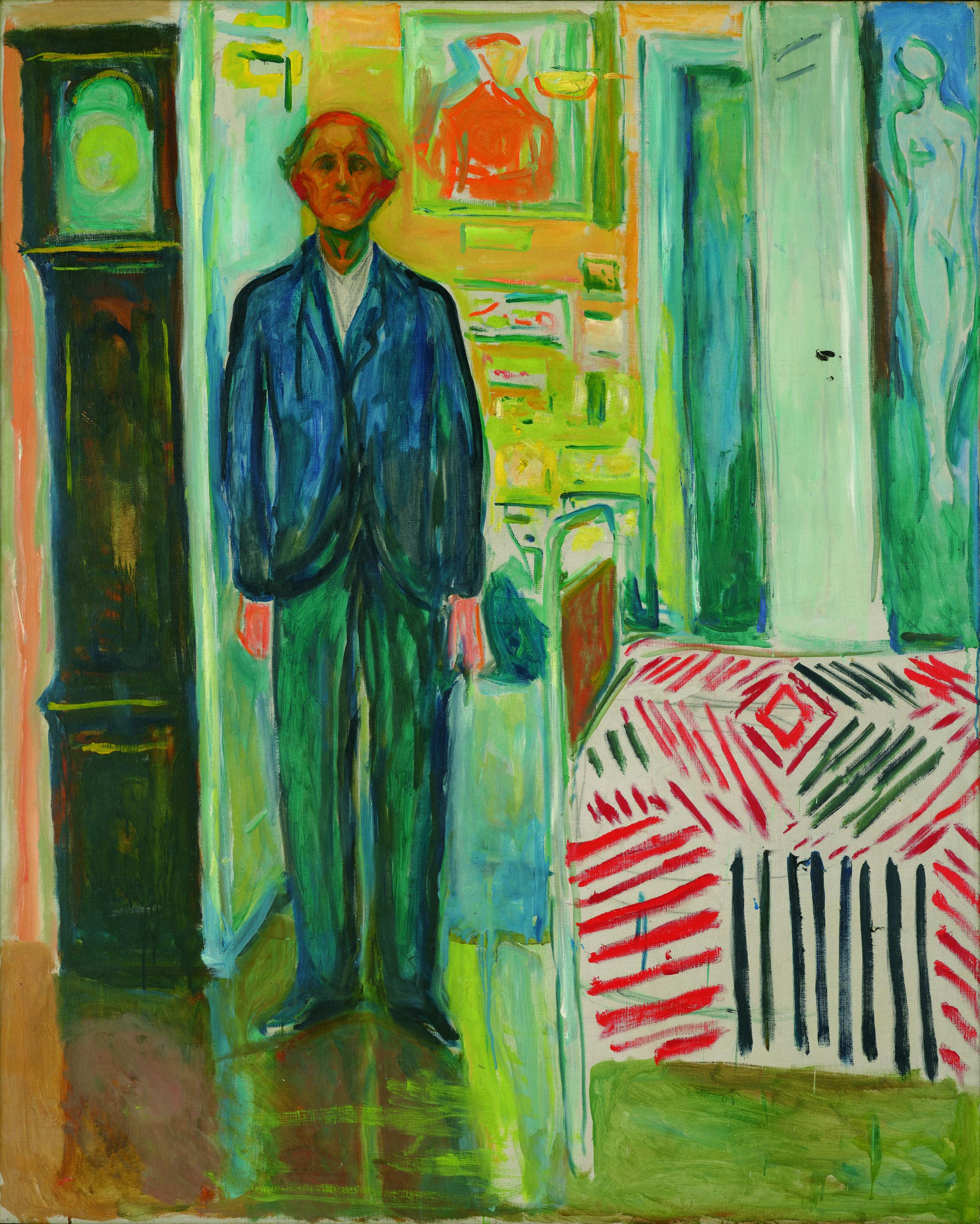 エドヴァルド・ムンク《自画像、時計とベッドの間》1940-43年 油彩、カンヴァス 149.5×120.5cm
