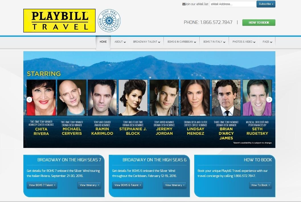 playbilltravel.comトップページのスクリーンショット