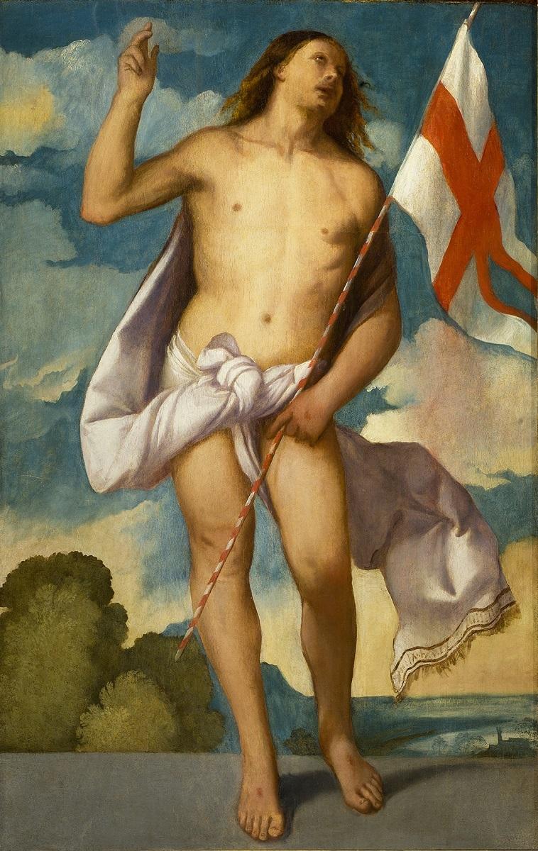 ティツィアーノ・ヴェチェッリオ 《復活のキリスト》 1510-12 年、油彩、カンヴァス、133×82cm、フィレンツェ、ウフィツィ美術館 ⓒGabinetto Fotografico delle Galleria degli Uffizi