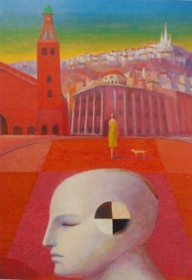 石井武夫「赤い塔の広場」60.6×72.7㎝(2016年 カンヴァス、アクリル、油彩)