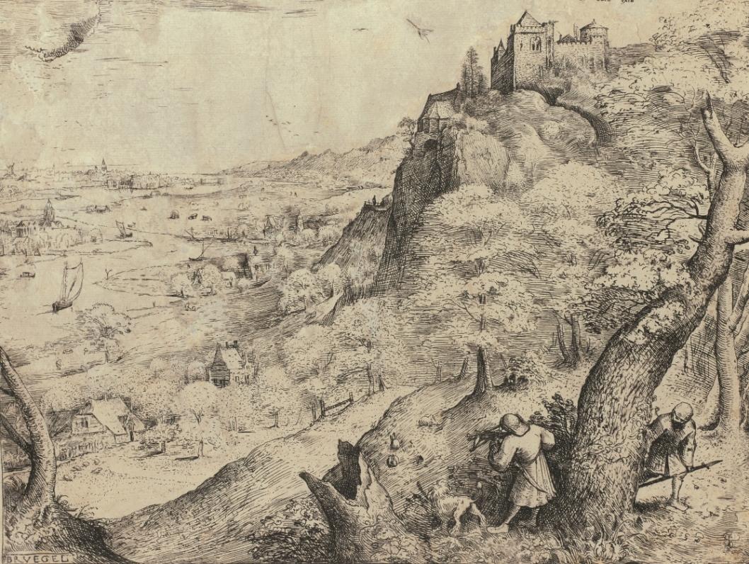 ピーテル・ブリューゲル1世(下絵、版刻)野ウサギ狩り1560年エッチングMuseum BVB, Rotterdam, Netherlands