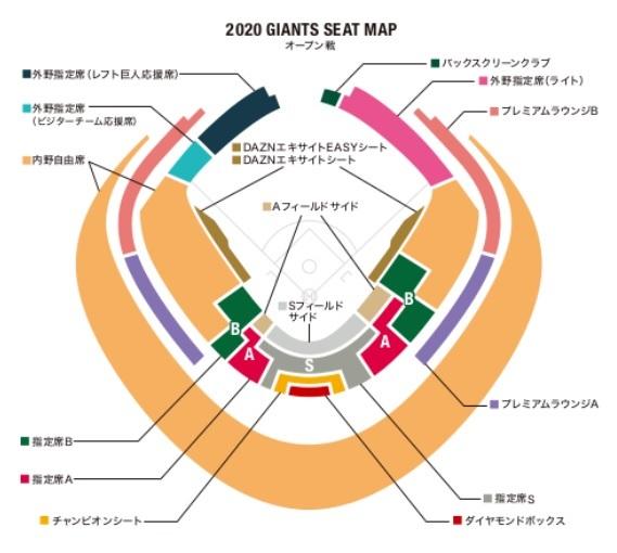 東京ドームのオープン戦の席種