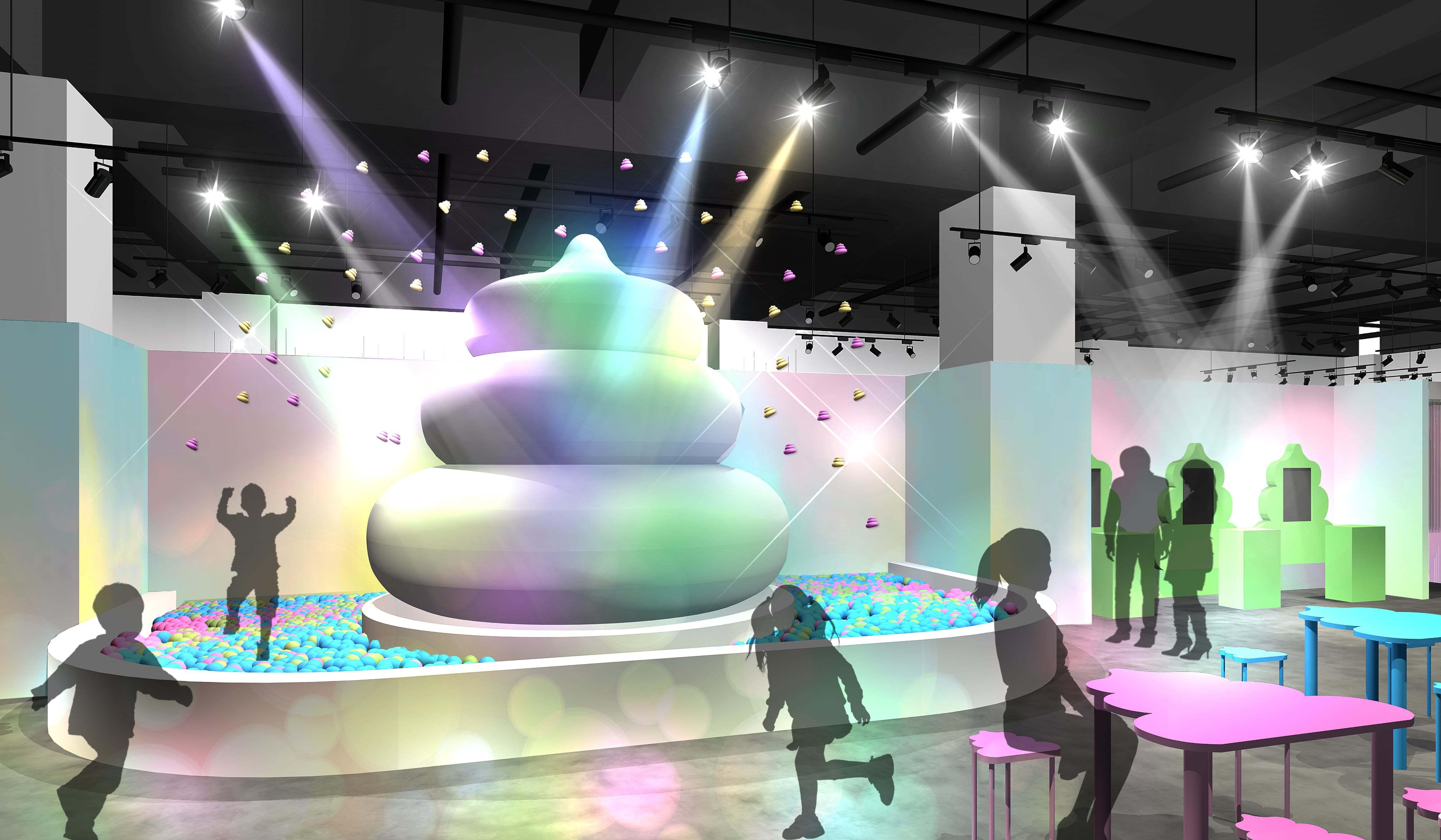 フロアイメージ【1.うんこ広場(ボルケーノ)】 巨大うんこオブジェから定期的にうんこが噴火!
